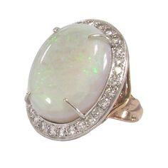 Opal Diamond Ring Platinum Top Art Nouveau Statement Ring
