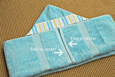 Who cares about the sewing tutorial! Finally, I know how to fold the towels that Novembrino Novembrino Scott made! Easy Sewing Projects, Sewing Hacks, Sewing Tutorials, Sewing Crafts, Diy Baby Gifts, Baby Crafts, Hooded Bath Towels, Towel Wrap, Baby Towel
