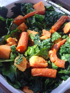 Kale Salad With Warm Roasted Sweet Potatoes and Carrots