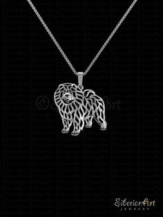 Chow Chow  sterling silver pendant and necklace.