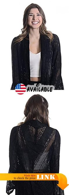 B01N10VD9Y : Damianou Women's Pointelle Lace Open Front Cardigan Black Sparkle Small. 90% Acetate 10% Lurex. Sheer knitting. Made in USA