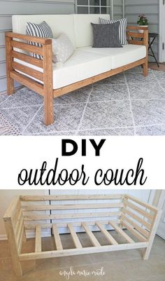 How to build a DIY outdoor couch for only $30 in lumber! This outdoor couch works great in small spaces, is budget friendly, and super cute too! Click to get the free tutorial! #outdoorfurniture #diyoutdoorfurniture #woodworking