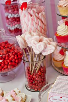 Little Big Company | The Blog: Red, White and Pink Dessert Table Perfect for a Bridal Shower by Life is Sweet Candy Buffet