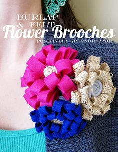 Burlap & Felt Flower Brooch Tutorial