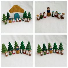 RESERVED for Pamela wooden cottage with turquoise blue door Snow White and Seven Dwarves peg doll set pretend open-ended storytelling by MyBigWorld2015 on Etsy