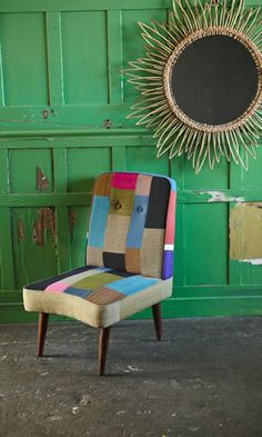 Patchwork chair. #apartment #decor #watchwigs www.youtube.com/wigs