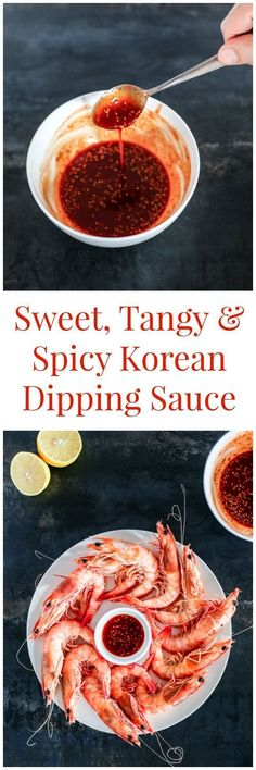 Tangy and Spicy Korean Dipping Sauce Sweet, tangy and spicy Korean dipping sauce (Cho-Gochujang or Chojang). This is most suitable for (raw or cooked) seafood and blanched broccoli. Sauce Recipes, Seafood Recipes, Cooking Recipes, Curry Recipes, Fruit Recipes, Cooking Tips, Korean Dishes, Korean Food, Korean Bbq