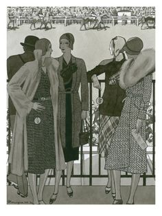Vogue - March 1930 by Pierre Mourgue. Giclee print from Art.com. #fashion