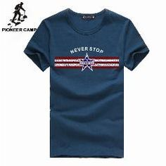 [ 43% OFF ] Pioneercamp  Mens New Fashion T Shirt Cotton Fitness Short Sleeve Men T-Shirt Men Clothes Swear Hip Hop