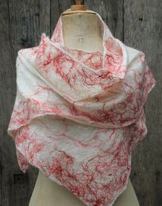 SALE -30% nuno felted scarf, felted shawl, felted scarf, silk shawl, wool scarf, felt, nuno felt, white, red. €70.00, via Etsy.