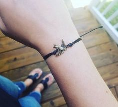 Sparrow Bracelet on black, waxed & water-resistant thread. Perfect for friendship bracelets!