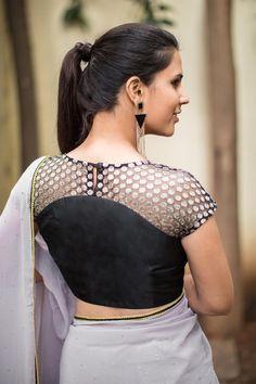 House Of Blouse Black polka net sheer yoke blouse