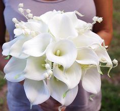 Natural Touch Calla Lilies Bouquet in Off White - Silk Wedding Bridal Flowers via Etsy