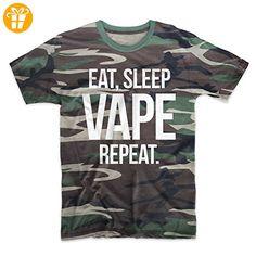 Eat Sleep Vape Repeat E-Cig Vaping Cloud Chaser Herren T-Shirt Camo Tarnung Large (*Partner-Link)