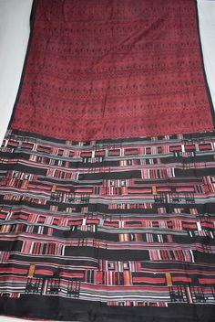 Indian Culture Vintage 100%  Pure Silk Saree Red Color Beautiful Abstract Design Printed Sari Craft Fabric