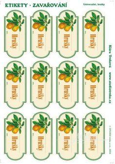 Samolepicí etikety, zavařování hrušky Free Printables, Prints, Create, Free Printable