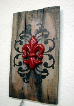Rustic Elegance  Fleur de lis  wood plank  red  by DoodlesinBloom, $69.00