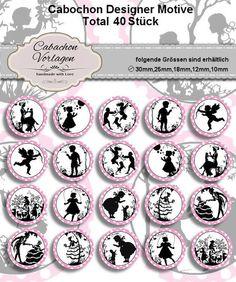 40 Cabochon Vorlagen Kreis Rund Download CA107 von Vintage Styler - Dein Designer Cabochon Spezialist auf DaWanda.com