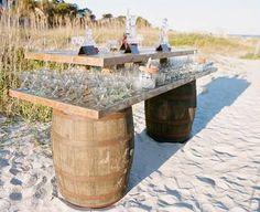 Wine Barrel Table - Vineyard Theme Wedding  #CupcakeDreamWedding