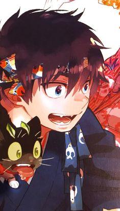 Rin and Kuro Ao No Exorcist, Blue Exorcist Movie, Blue Exorcist Cosplay, Blue Exorcist Anime, Manga Anime, Fanart Manga, Anime Art, Anime Guys, Rin Okumura