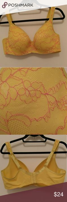 Lace overlay bra So fresh and pretty! Yellow bra with yellow and pink lace overlay.  Underwire. Lightly lined. Never worn. Cacique Intimates & Sleepwear Bras