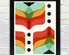 Mid Century Modern Art Falling Flowers Print // Gifts under 25 | Etsy