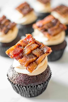 bacon weave chocOlate caramel cupcakes with bacon compote