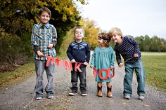 Great idea for homemade thank you cards or change the message for other kinds!  Cute for the kids to sign by their image on the pic! It's a great practice to teach children to send formal thank you messages and what a wonderful way to do it!
