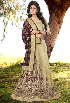 Chic Beige and Taupe Brown Saree