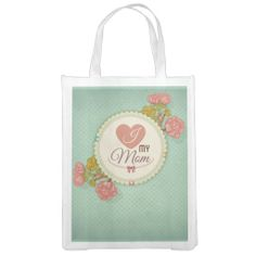 Retro mother's day flower pattern reusable grocery bags