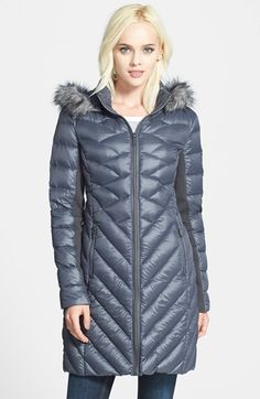BCBGeneration Packable Down Coat with Faux Fur Trim available at #Nordstrom