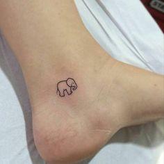 small baby elephant ankle tattoo tiny