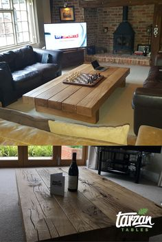Some rustic coffee tables from Tarzan Tables. See more here: https://tarzantables.co.uk/rustic-coffee-table/