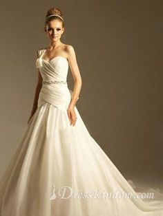 The glamorous one-shoulder beach wedding dress. - US$275.99 : DressKindom