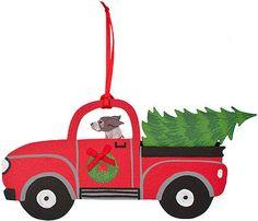 New German Shorthair Dog Wooden 3 D USA Red Pickup Truck Christmas Tree Ornament   eBay