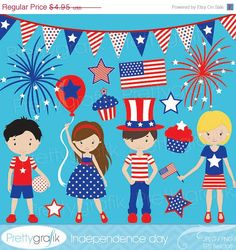 60% OFF SALE independence day clipart commercial use, vector graphics, digital clip art, digital images - CL536