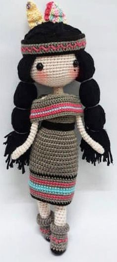 2019 Best Amigurumi Doll Patterns Native American Crochet Toy With Black Braided Hair - Amigurumi Doll Clothes Patterns, Doll Patterns, Pattern Ideas, Free Pattern, Amigurumi Patterns, Amigurumi Doll, Crochet Patterns, Crochet Doll Tutorial, Crochet Dolls