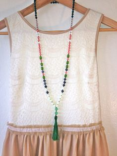 Beaded Tassel Necklace, Druk Beads, Glass, Semi Precious Stone and Australian Jade Gemstone Beads, Pink, Green, Yellow, Mint, Emerald Tassel by DinosaurFood on Etsy https://www.etsy.com/listing/192070623/beaded-tassel-necklace-druk-beads-glass