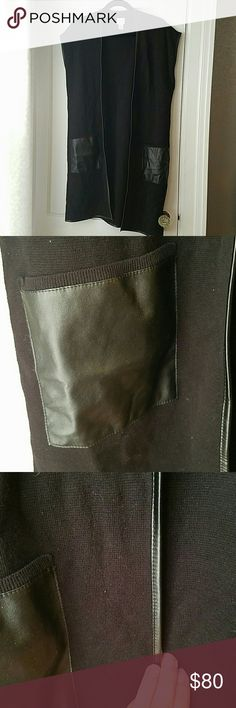 Chico's FAUX-LEATHER POCKET PASCALE SWEATER VEST Black sweater vest Chico's Sweaters Shrugs & Ponchos