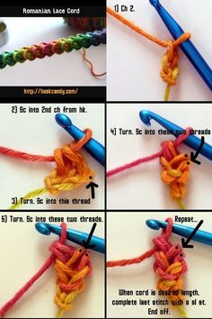 I Cord Crochet Instructions - Bing ImagesHow To Crochet a Romanian Lace i-CordCrochet Patterns Vintage This cord is attractive, thick and strong, simple & easy to do!The very first issue of Anna Burda magazine that contained patterns and instructions for Crochet I Cord, Crochet Bracelet, Love Crochet, Irish Crochet, Russian Crochet, C2c Crochet, Single Crochet, Crochet Stitches Patterns, Crochet Designs