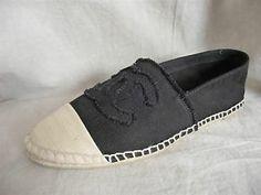 2013 CHANEL Canvas Espadrilles Flats  black / beige toe US 5/ EU 36
