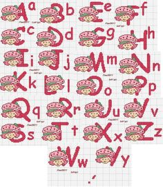 Abc Alphabet, Cross Stitch Alphabet, Cross Stitch Charts, Cross Stitch Patterns, Stitching Patterns, Disney Letters, Crochet Letters, Donald And Daisy Duck, Mickey Minnie Mouse