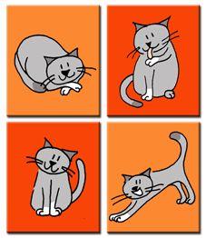 4 Poezen op canvasdoek, je mag zelf de achtergrondkleur bepalen!