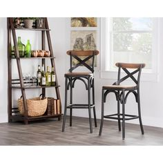 Kosas Home Dixon Rustic Brown and Black Reclaimed Pine and Iron Bar Stool