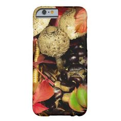 Beautiful Still life photography Autumn Fall leaves, chestnuts and mushrooms iPhone 6 Case by #PLdesign #FallLeaves #ChestnutsAndMushrooms #AutumnGift #FallGift