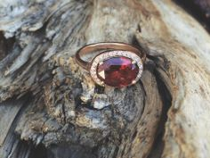 3 carat garnet + 14k rose gold + pave diamonds by Jessica Seaton