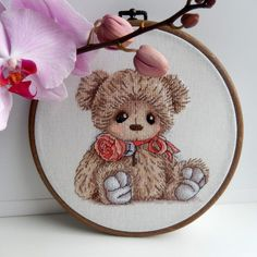 "Finished work by pattern ""Teddy with a rose"" #sa_stitch #sa_pattern #pattern #crossstitch #teddy"