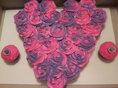 TWO TONE HOT PINK AND PURPLE HEART CUPCAKE CAKE W/DIVA CUPCAKES ON THE SIDE