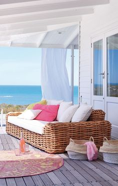 Coastal Living. Love the color pallet on this outdoor deck.