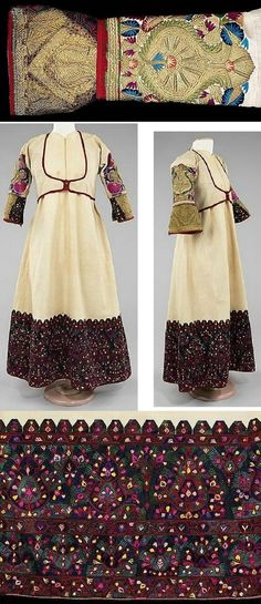 Albanian ensemble. Late-Ottoman era, 1875-1900. Cotton, silk & metal embroidery. Length: 131 cm. (Brooklyn Museum Costume Collection at The Metropolitan Museum of Art, N.Y.)